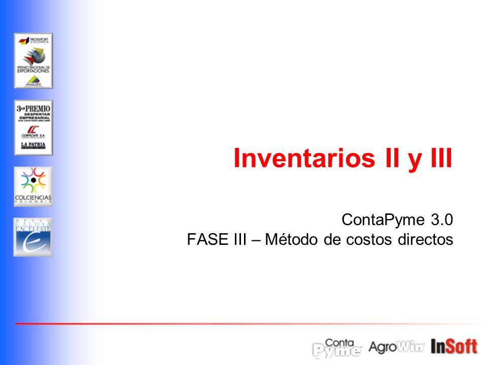 Inventarios II Operación de compra de insumos.Operación de uso de insumos.