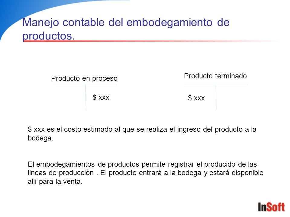 Manejo contable de la venta de productos.