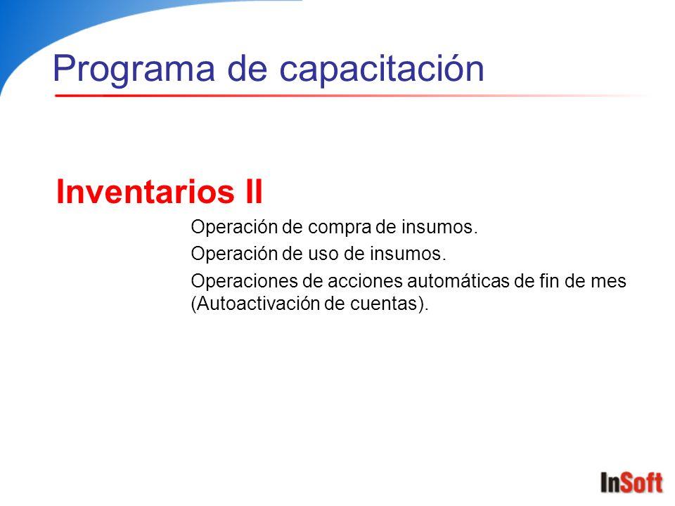 Inventarios III Operación de embodegamiento de productos.
