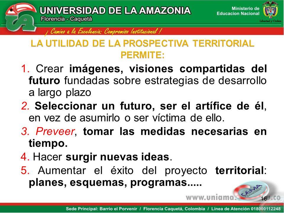 La prospectiva territorial es un clasificación de la prospectiva : es la identificación de los futuros posibles y deseables de un territorio. Revela l