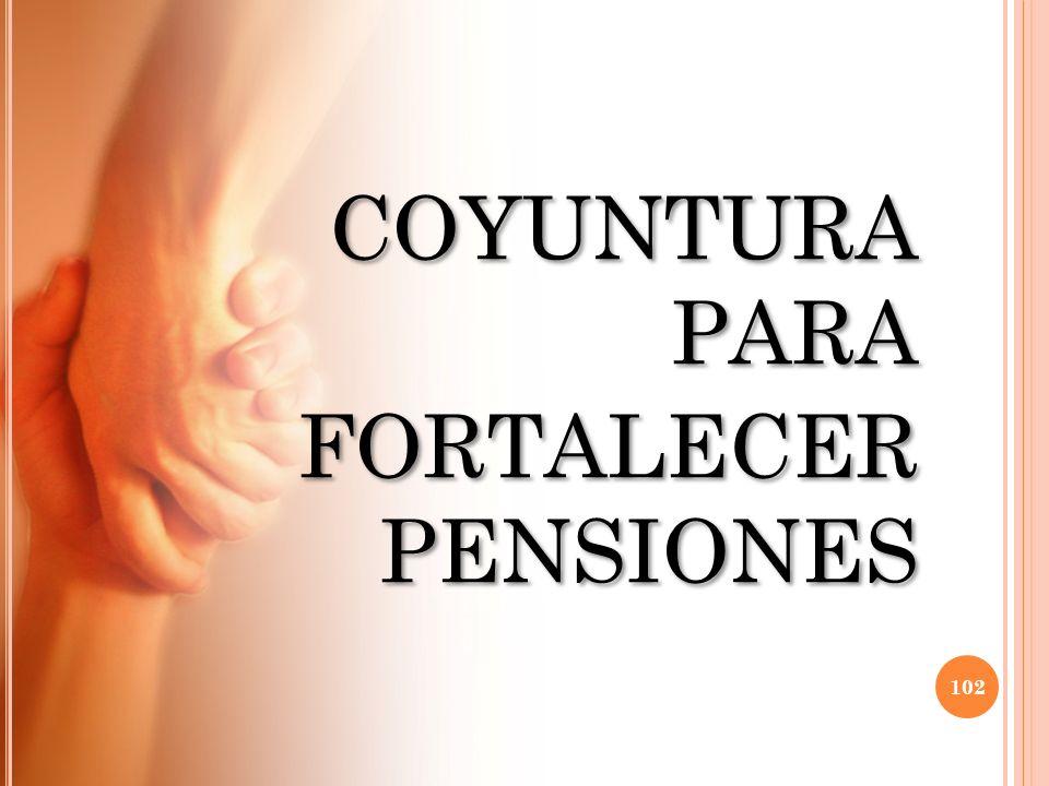COYUNTURA PARA FORTALECER PENSIONES COYUNTURA PARA FORTALECER PENSIONES 102