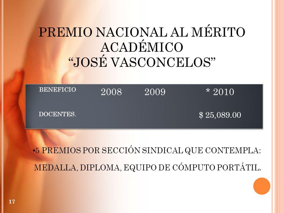 PREMIO NACIONAL AL MÉRITO ACADÉMICO JOSÉ VASCONCELOS 5 PREMIOS POR SECCIÓN SINDICAL QUE CONTEMPLA: MEDALLA, DIPLOMA, EQUIPO DE CÓMPUTO PORTÁTIL. 17