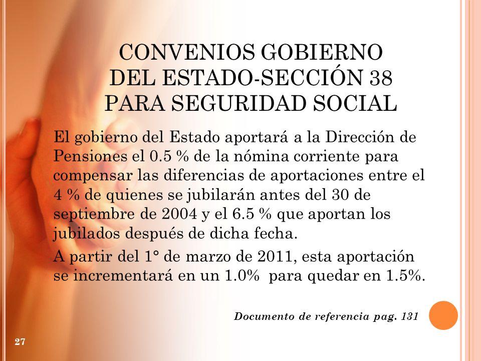 CONVENIOS GOBIERNO DEL ESTADO-SECCIÓN 38 PARA SEGURIDAD SOCIAL 27 El gobierno del Estado aportará a la Dirección de Pensiones el 0.5 % de la nómina co