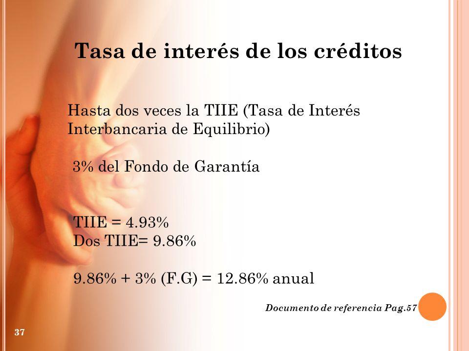 Hasta dos veces la TIIE (Tasa de Interés Interbancaria de Equilibrio) Tasa de interés de los créditos Documento de referencia Pag.57 37 3% del Fondo d