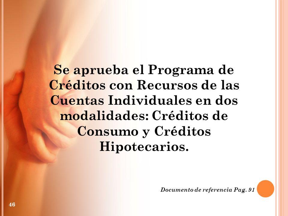 Se aprueba el Programa de Créditos con Recursos de las Cuentas Individuales en dos modalidades: Créditos de Consumo y Créditos Hipotecarios. Documento
