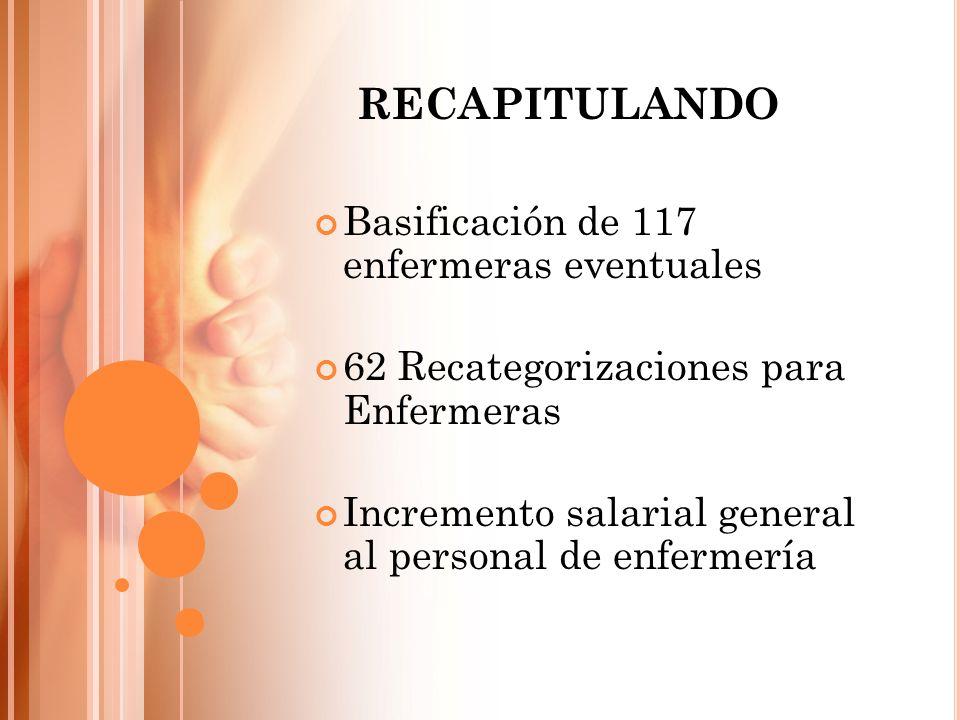 Basificación de 117 enfermeras eventuales 62 Recategorizaciones para Enfermeras Incremento salarial general al personal de enfermería RECAPITULANDO