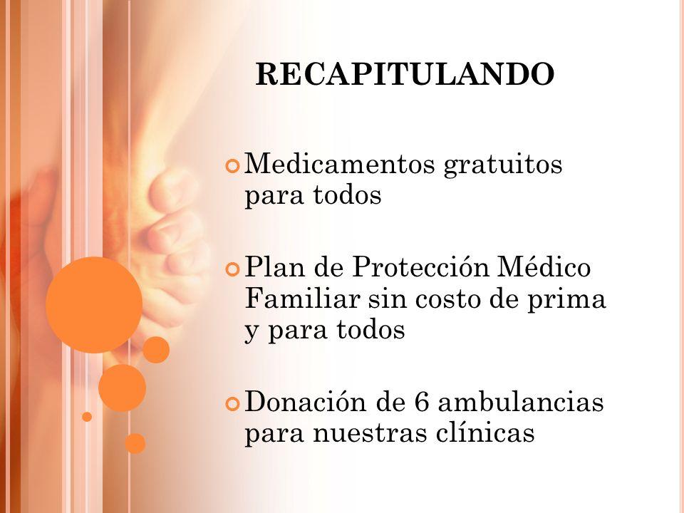 Medicamentos gratuitos para todos Plan de Protección Médico Familiar sin costo de prima y para todos Donación de 6 ambulancias para nuestras clínicas