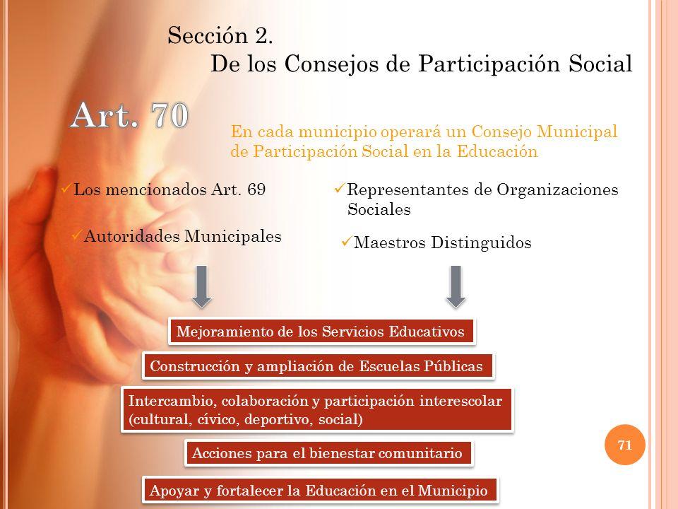 Sección 2. De los Consejos de Participación Social En cada municipio operará un Consejo Municipal de Participación Social en la Educación Los menciona