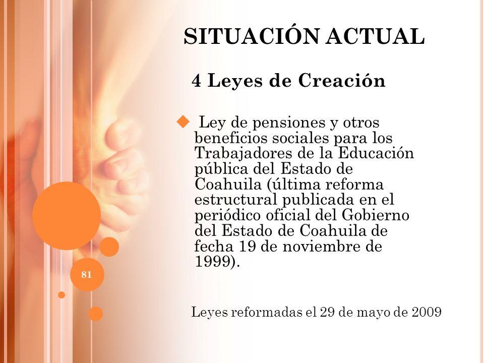 4 Leyes de Creación Ley de pensiones y otros beneficios sociales para los Trabajadores de la Educación pública del Estado de Coahuila (última reforma