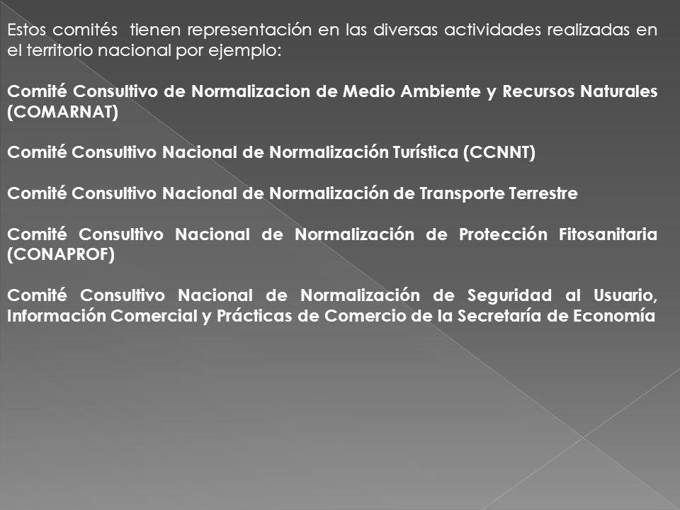 Estos comités tienen representación en las diversas actividades realizadas en el territorio nacional por ejemplo: Comité Consultivo de Normalizacion d