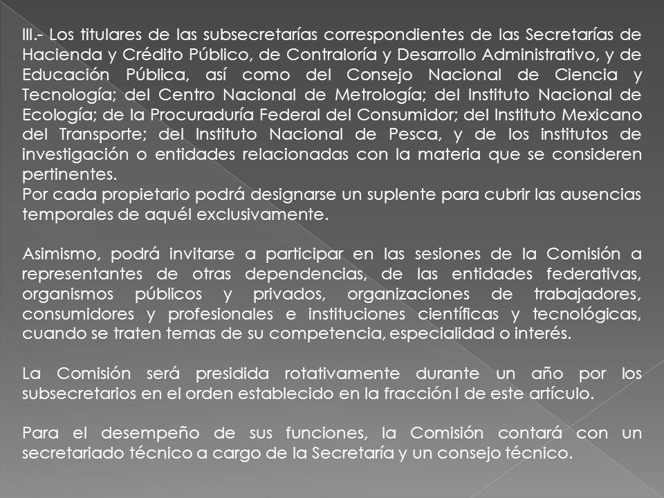 III.- Los titulares de las subsecretarías correspondientes de las Secretarías de Hacienda y Crédito Público, de Contraloría y Desarrollo Administrativ