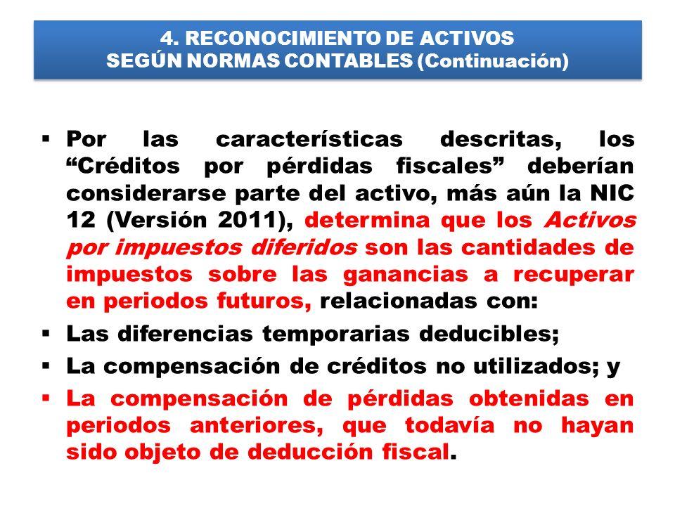 4. RECONOCIMIENTO DE ACTIVOS SEGÚN NORMAS CONTABLES (Continuación) Por las características descritas, los Créditos por pérdidas fiscales deberían cons
