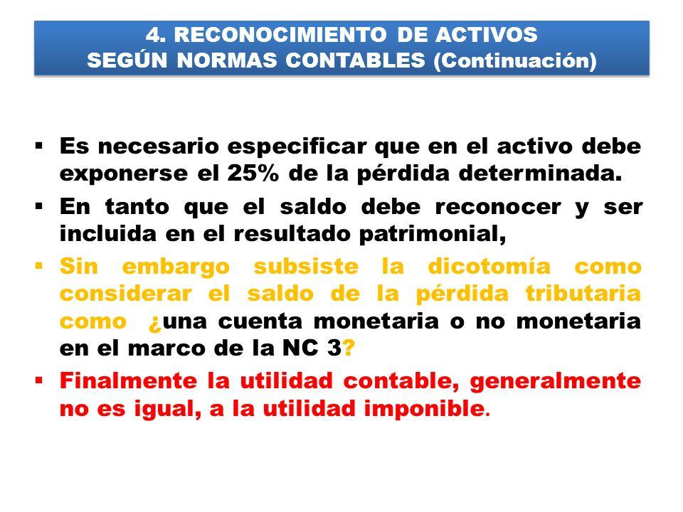 4. RECONOCIMIENTO DE ACTIVOS SEGÚN NORMAS CONTABLES (Continuación) Es necesario especificar que en el activo debe exponerse el 25% de la pérdida deter