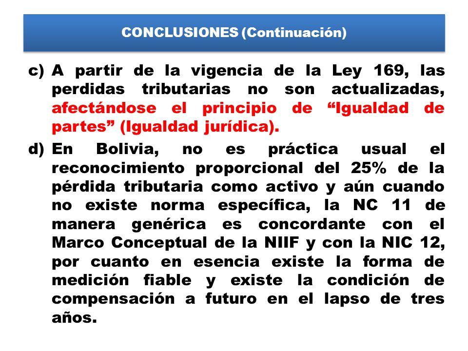 CONCLUSIONES (Continuación) c)A partir de la vigencia de la Ley 169, las perdidas tributarias no son actualizadas, afectándose el principio de Igualda