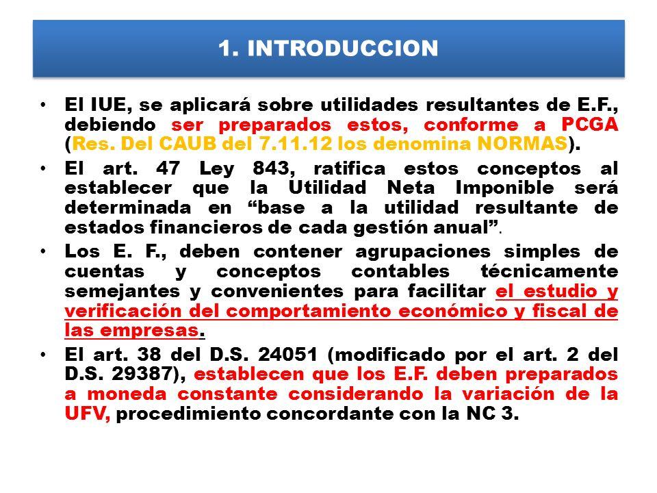 1. INTRODUCCION El IUE, se aplicará sobre utilidades resultantes de E.F., debiendo ser preparados estos, conforme a PCGA (Res. Del CAUB del 7.11.12 lo