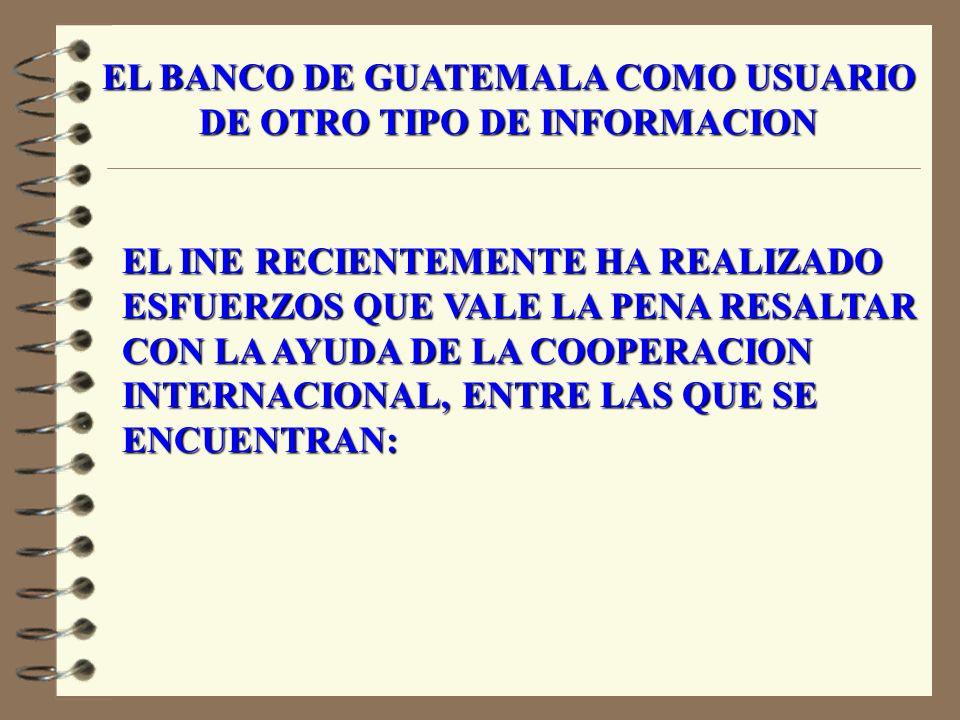 ASPECTOS NEGATIVOS 1.LA ALTA ROTACION DE PERSONAL DEL INE, LO QUE SE HACE NECESARIO POR PARTE DEL BANCO DE GUATEMALA A DAR APOYO TECNICO PARA CAPACITAR AL NUEVO PERSONAL.