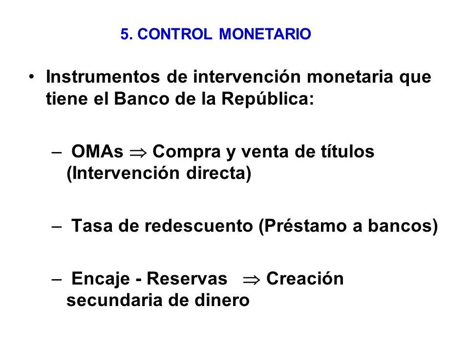 4.- DINERO Y EL SISTEMA ECONOMICO Ecuación cuantitativa del dinero M V = P Y M = Cantidad de Dinero (M1…) V = Velocidad de circulación del dinero P = Precios ( IPC) Y = Producción (PIB)