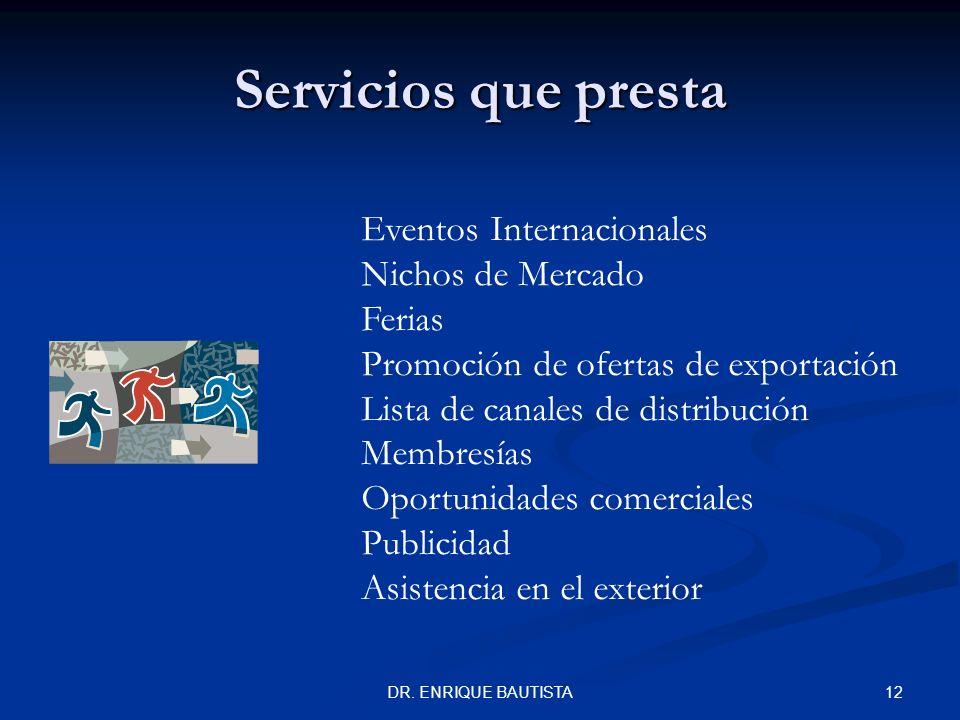 11DR. ENRIQUE BAUTISTA Servicios que presta Asesoría Comercial, Aduanera y Jurídica Asesorías Grupales Sectoriales Correlación de Fracciones Arancelar