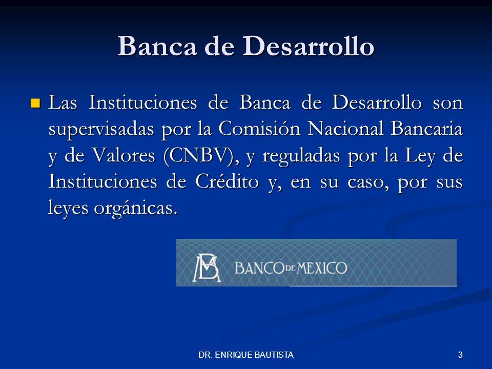 2DR. ENRIQUE BAUTISTA Banca de Desarrollo Entidades de la Administración Pública Federal con personalidad jurídica y patrimonio propios conocidas como