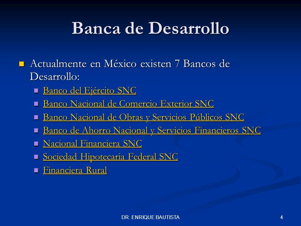 3DR. ENRIQUE BAUTISTA Banca de Desarrollo Las Instituciones de Banca de Desarrollo son supervisadas por la Comisión Nacional Bancaria y de Valores (CN