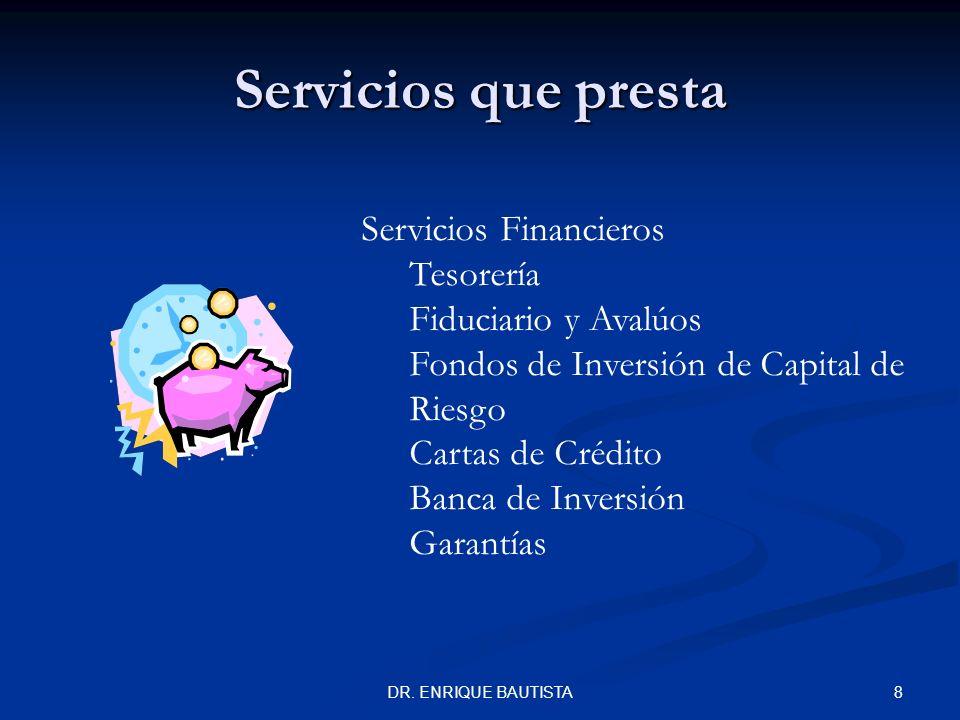 7DR. ENRIQUE BAUTISTA Servicios que presta Servicios Financieros Credi-exporta Atención a clientes Servicios de Promoción Capacitación Asistencia Técn