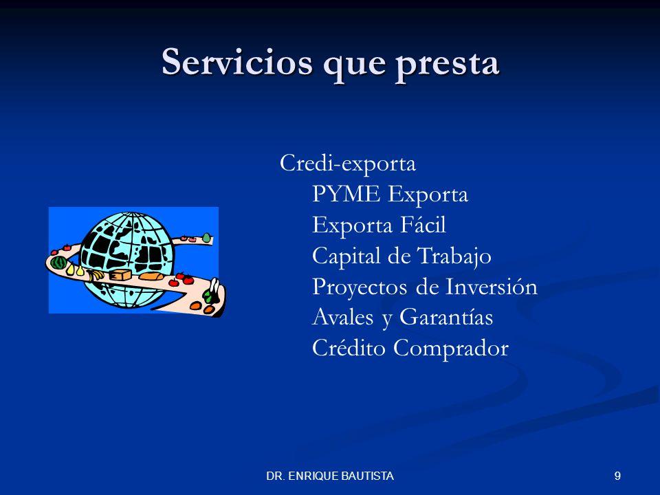 8DR. ENRIQUE BAUTISTA Servicios que presta Servicios Financieros Tesorería Fiduciario y Avalúos Fondos de Inversión de Capital de Riesgo Cartas de Cré