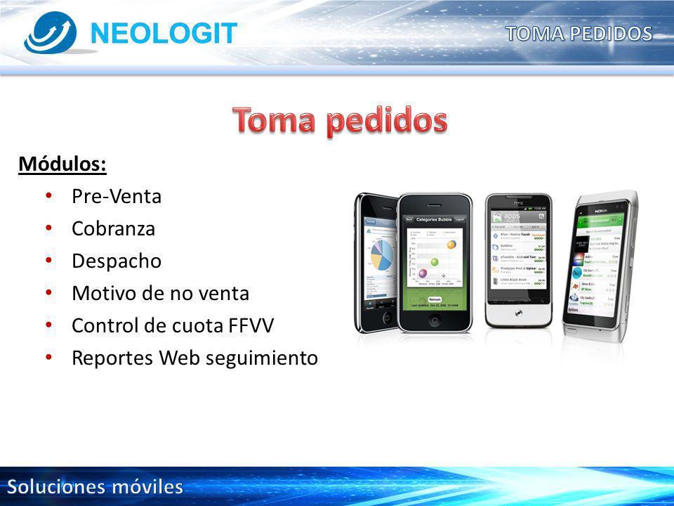 Módulos: Pre-Venta Cobranza Despacho Motivo de no venta Control de cuota FFVV Reportes Web seguimiento