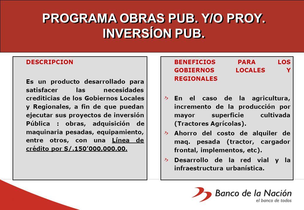 PROGRAMA OBRAS PUB. Y/O PROY. INVERSÍON PUB. DESCRIPCION Es un producto desarrollado para satisfacer las necesidades crediticias de los Gobiernos Loca