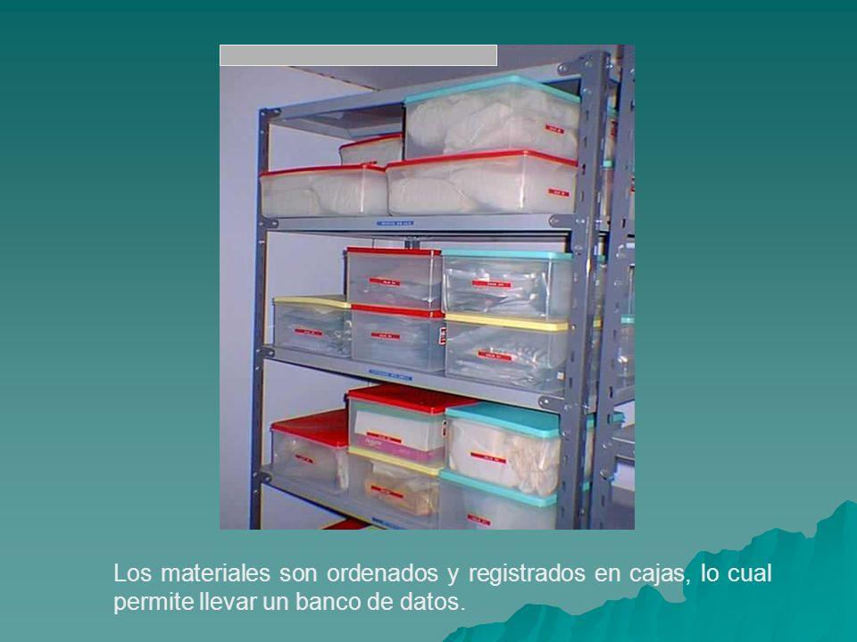 Los materiales son ordenados y registrados en cajas, lo cual permite llevar un banco de datos.