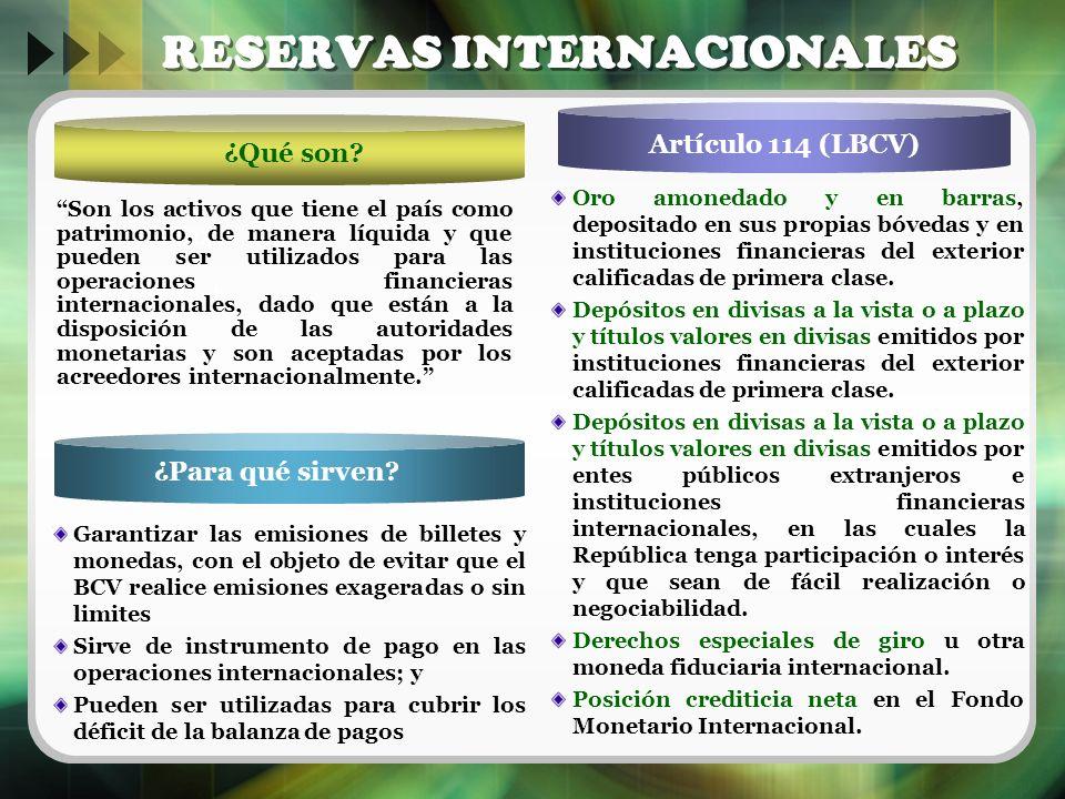 ¿Para qué sirven? Text Artículo 114 (LBCV) RESERVAS INTERNACIONALES Son los activos que tiene el país como patrimonio, de manera líquida y que pueden
