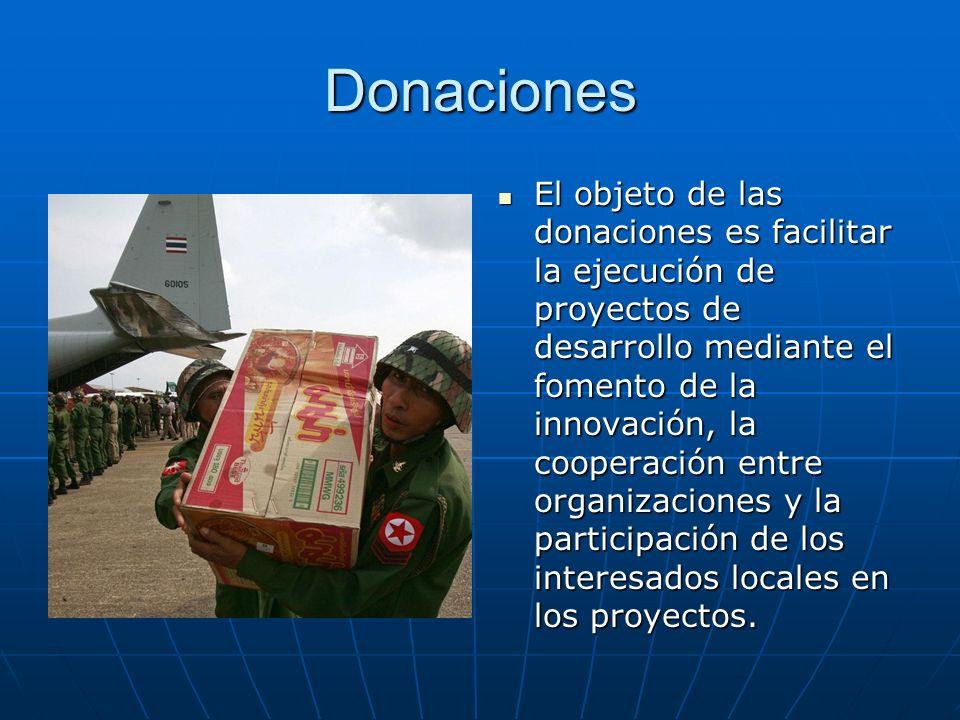 Donaciones El objeto de las donaciones es facilitar la ejecución de proyectos de desarrollo mediante el fomento de la innovación, la cooperación entre