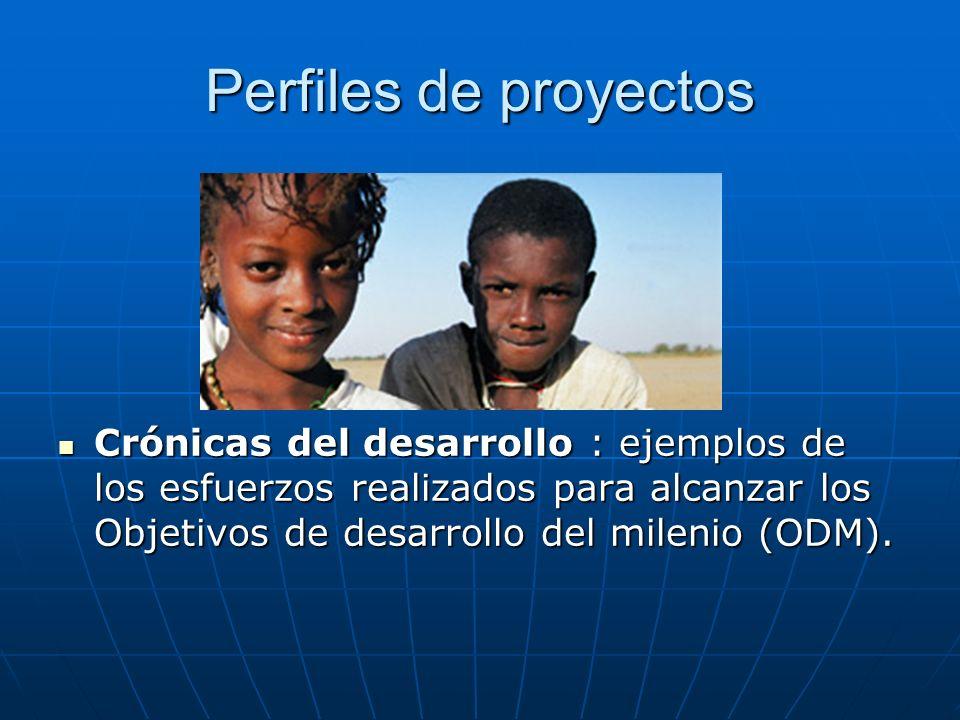 Perfiles de proyectos Crónicas del desarrollo : ejemplos de los esfuerzos realizados para alcanzar los Objetivos de desarrollo del milenio (ODM). Crón