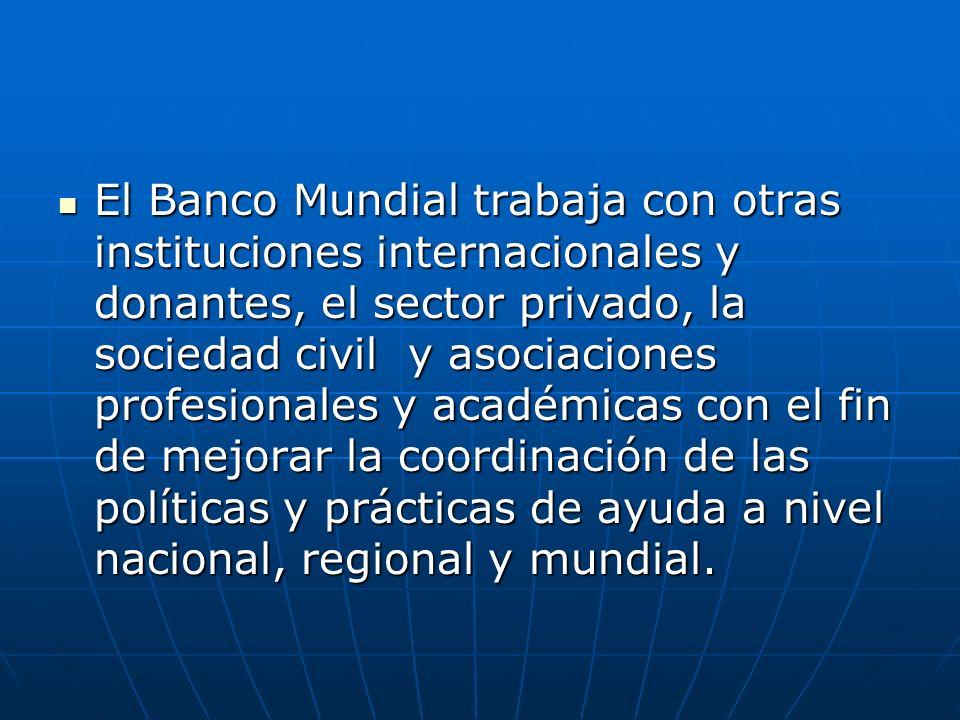 El Banco Mundial trabaja con otras instituciones internacionales y donantes, el sector privado, la sociedad civil y asociaciones profesionales y acadé
