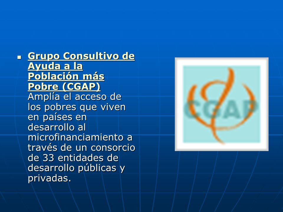Grupo Consultivo de Ayuda a la Población más Pobre (CGAP) Amplía el acceso de los pobres que viven en países en desarrollo al microfinanciamiento a tr
