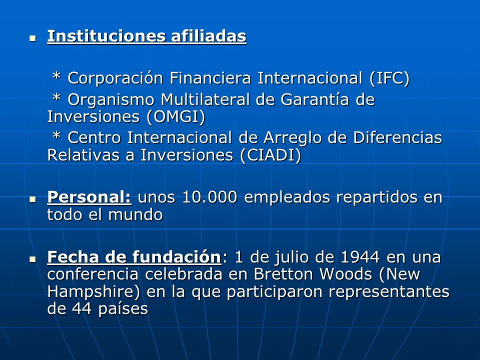 Instituciones afiliadas Instituciones afiliadas * Corporación Financiera Internacional (IFC) * Corporación Financiera Internacional (IFC) * Organismo