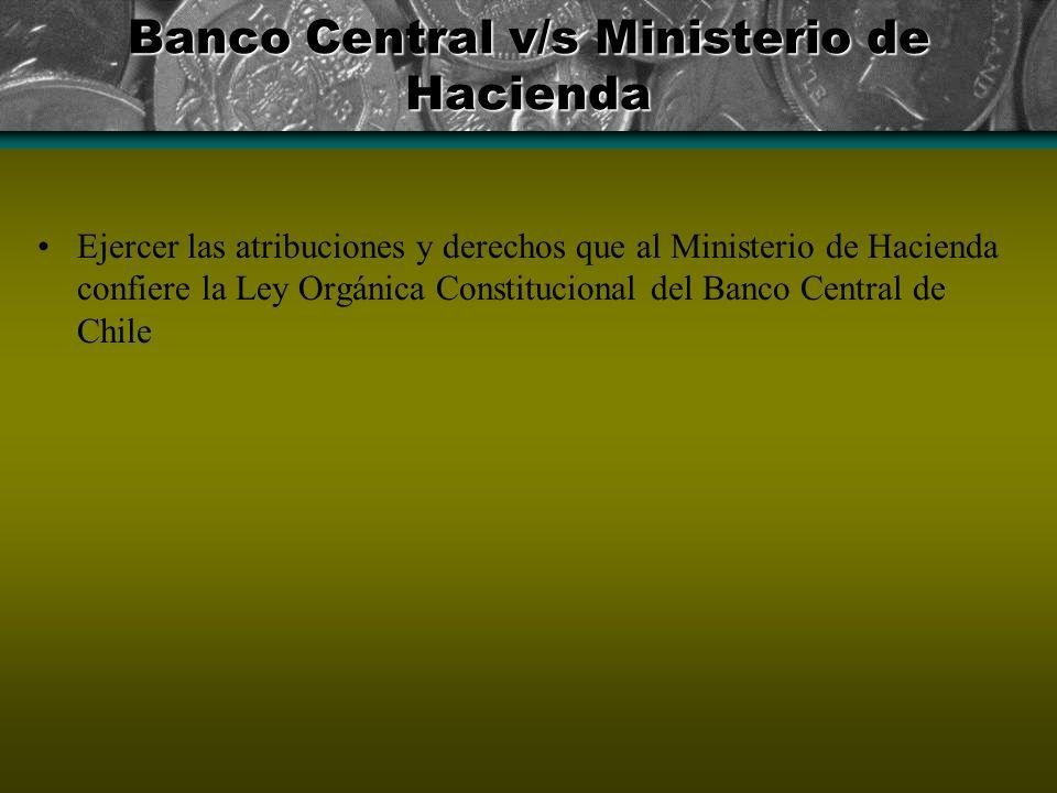 Banco Central v/s Ministerio de Hacienda Ejercer las atribuciones y derechos que al Ministerio de Hacienda confiere la Ley Orgánica Constitucional del