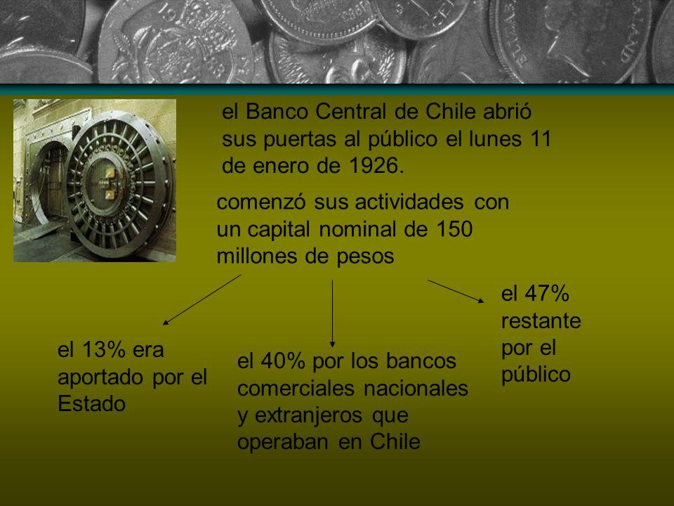 el Banco Central de Chile abrió sus puertas al público el lunes 11 de enero de 1926. comenzó sus actividades con un capital nominal de 150 millones de