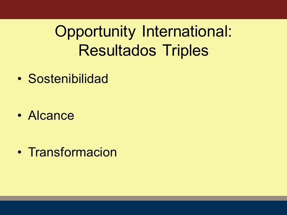 Opportunity International: Resultados Triples Sostenibilidad Alcance Transformacion