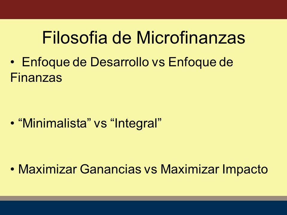 Enfoque de Desarrollo vs Enfoque de Finanzas Minimalista vs Integral Maximizar Ganancias vs Maximizar Impacto Filosofia de Microfinanzas
