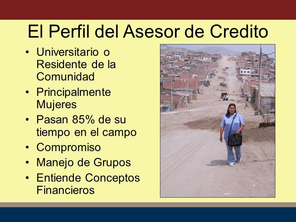 El Perfil del Asesor de Credito Universitario o Residente de la Comunidad Principalmente Mujeres Pasan 85% de su tiempo en el campo Compromiso Manejo de Grupos Entiende Conceptos Financieros