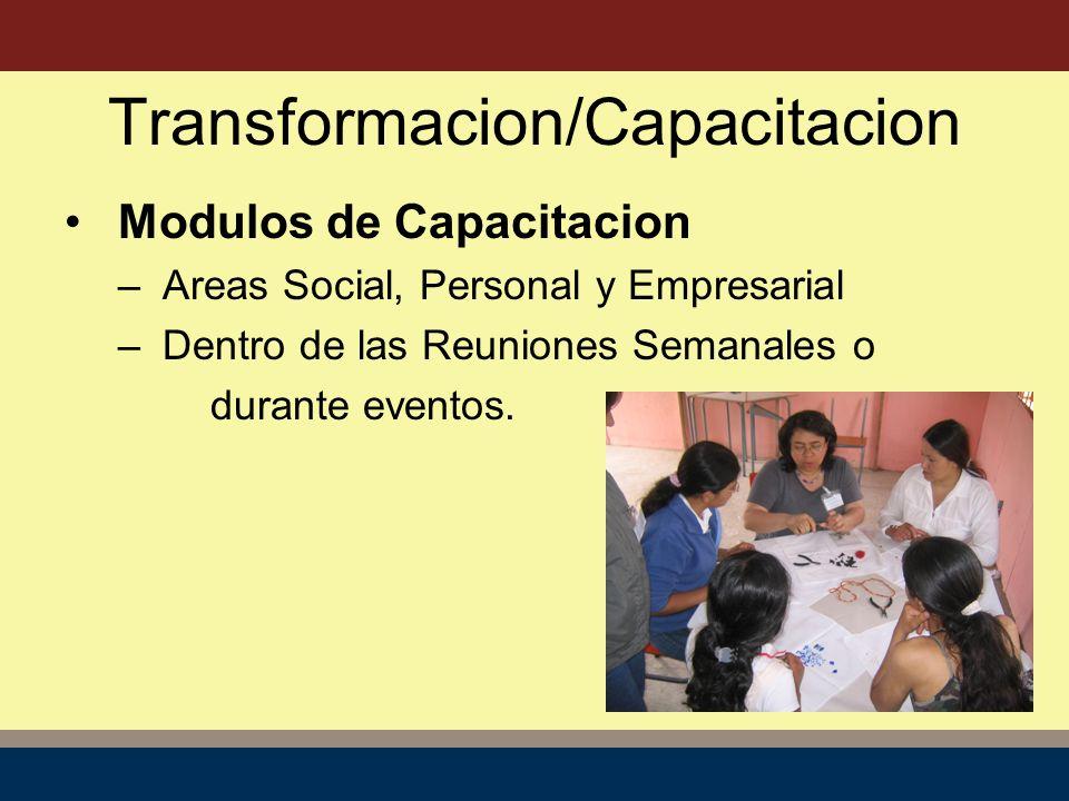 Transformacion/Capacitacion Modulos de Capacitacion – Areas Social, Personal y Empresarial – Dentro de las Reuniones Semanales o durante eventos.