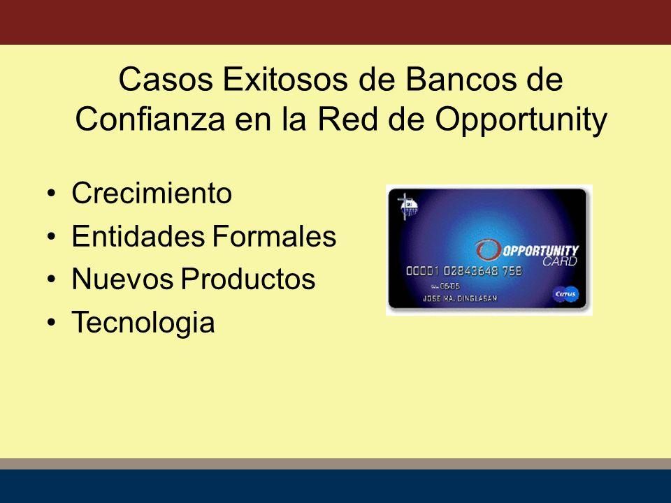 Crecimiento Entidades Formales Nuevos Productos Tecnologia Casos Exitosos de Bancos de Confianza en la Red de Opportunity