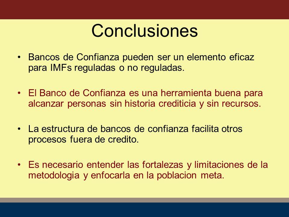 Conclusiones Bancos de Confianza pueden ser un elemento eficaz para IMFs reguladas o no reguladas.