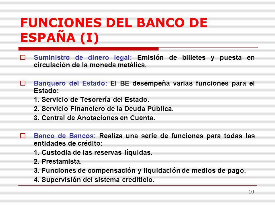 10 FUNCIONES DEL BANCO DE ESPAÑA (I) Suministro de dinero legal: Emisión de billetes y puesta en circulación de la moneda metálica.