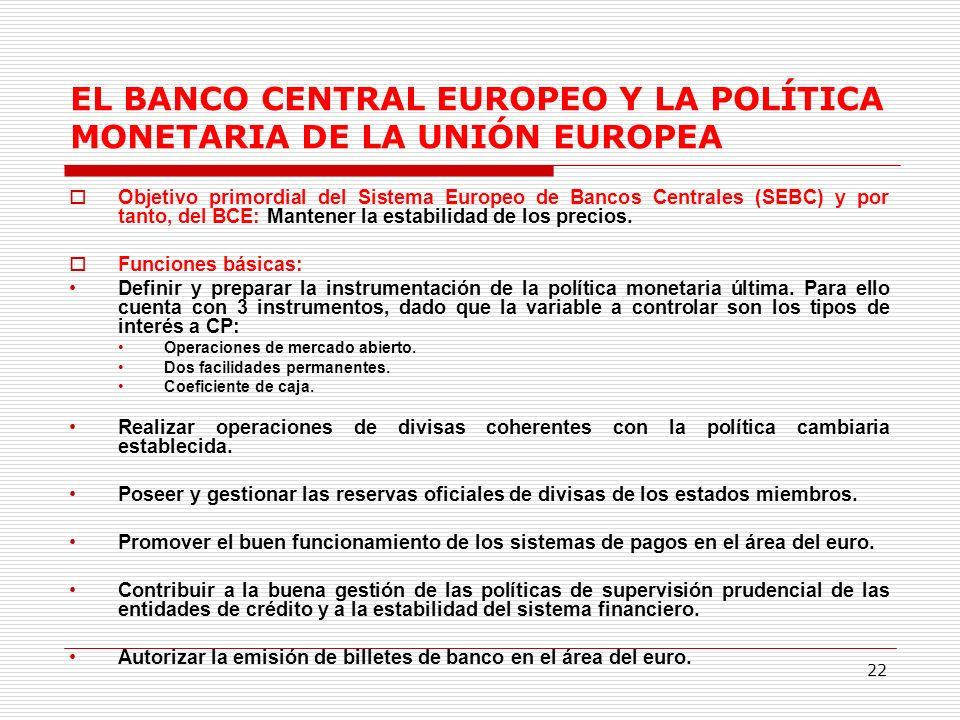 22 EL BANCO CENTRAL EUROPEO Y LA POLÍTICA MONETARIA DE LA UNIÓN EUROPEA Objetivo primordial del Sistema Europeo de Bancos Centrales (SEBC) y por tanto, del BCE: Mantener la estabilidad de los precios.