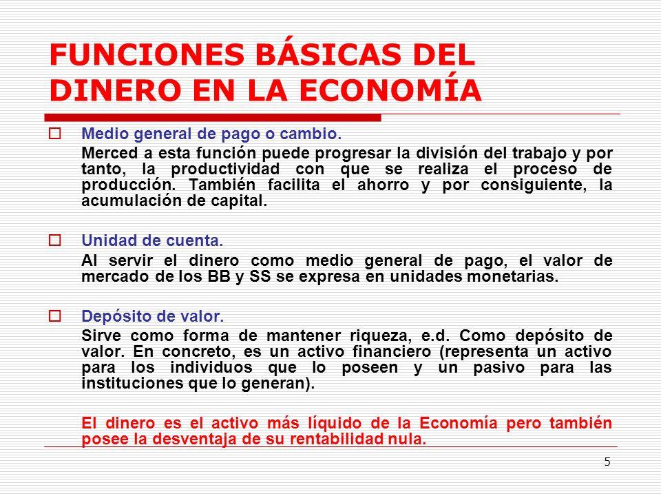 5 FUNCIONES BÁSICAS DEL DINERO EN LA ECONOMÍA Medio general de pago o cambio.