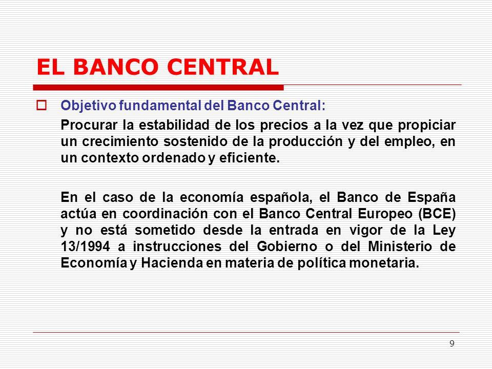 9 EL BANCO CENTRAL Objetivo fundamental del Banco Central: Procurar la estabilidad de los precios a la vez que propiciar un crecimiento sostenido de la producción y del empleo, en un contexto ordenado y eficiente.