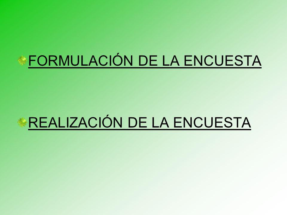 FORMULACIÓN DE LA ENCUESTA REALIZACIÓN DE LA ENCUESTA
