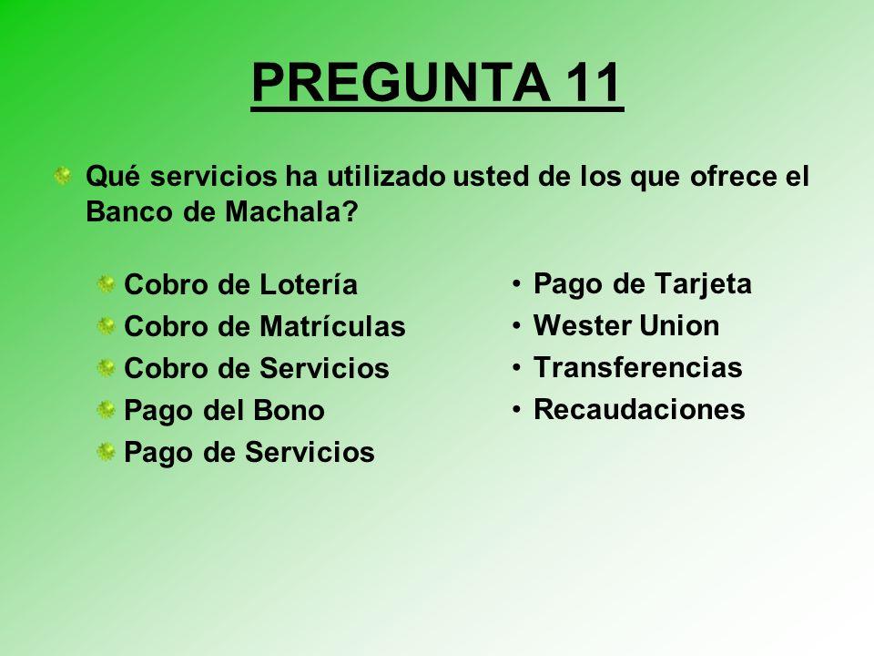 PREGUNTA 11 Qué servicios ha utilizado usted de los que ofrece el Banco de Machala.