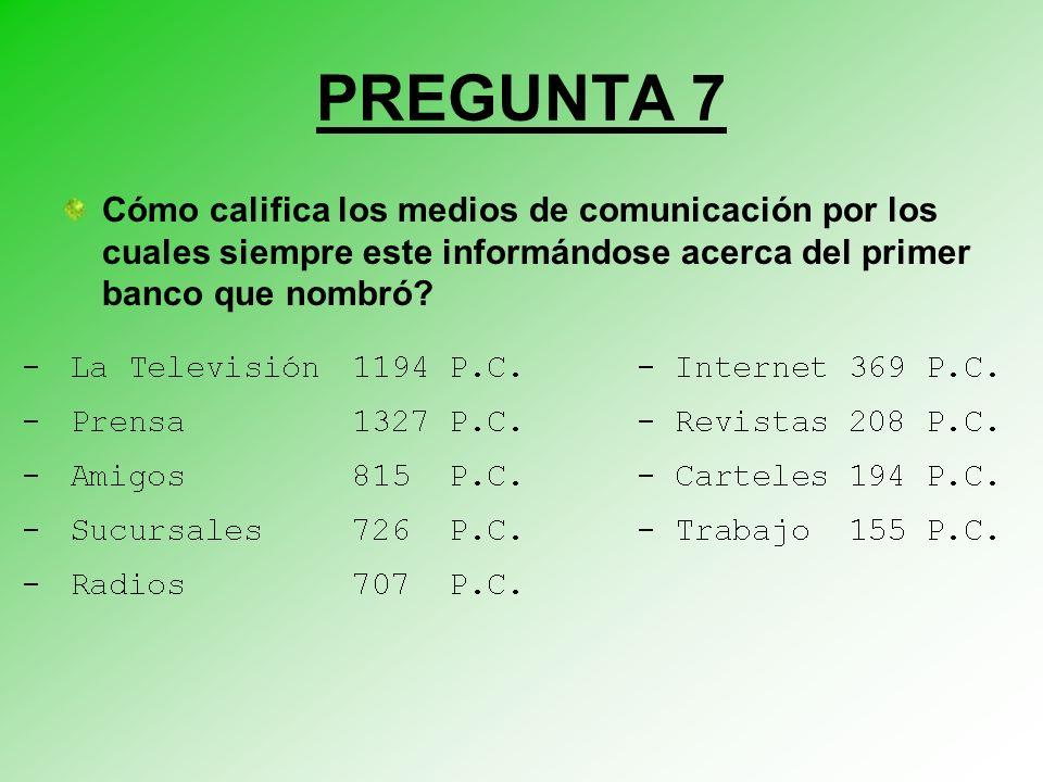 PREGUNTA 7 Cómo califica los medios de comunicación por los cuales siempre este informándose acerca del primer banco que nombró?
